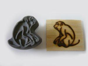 画像1: 干支「猿」『招福猿』直火式焼印